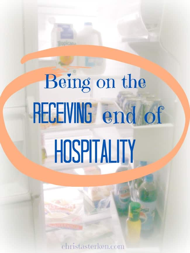 Being on the receiving end of hospitality -Drop the pride. Let people know the struggle. Say thank you. Trust that they are going home with joy at being able to help