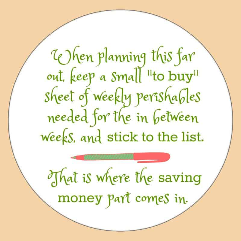 Here's A quick way to Save money with monthly meal planning