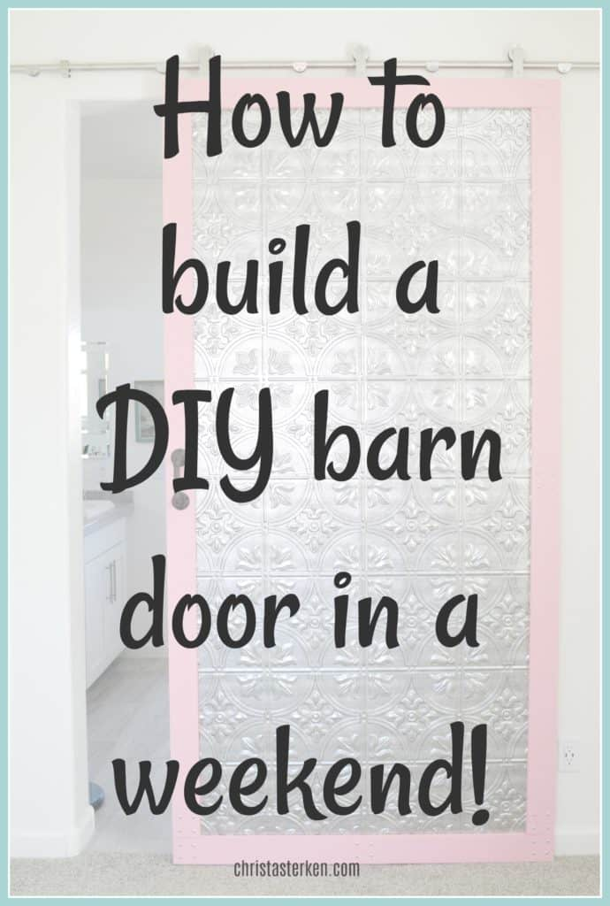How to build a DIY sliding barn door in a weekend! A detailed tutorial for beginners with tons of pictures
