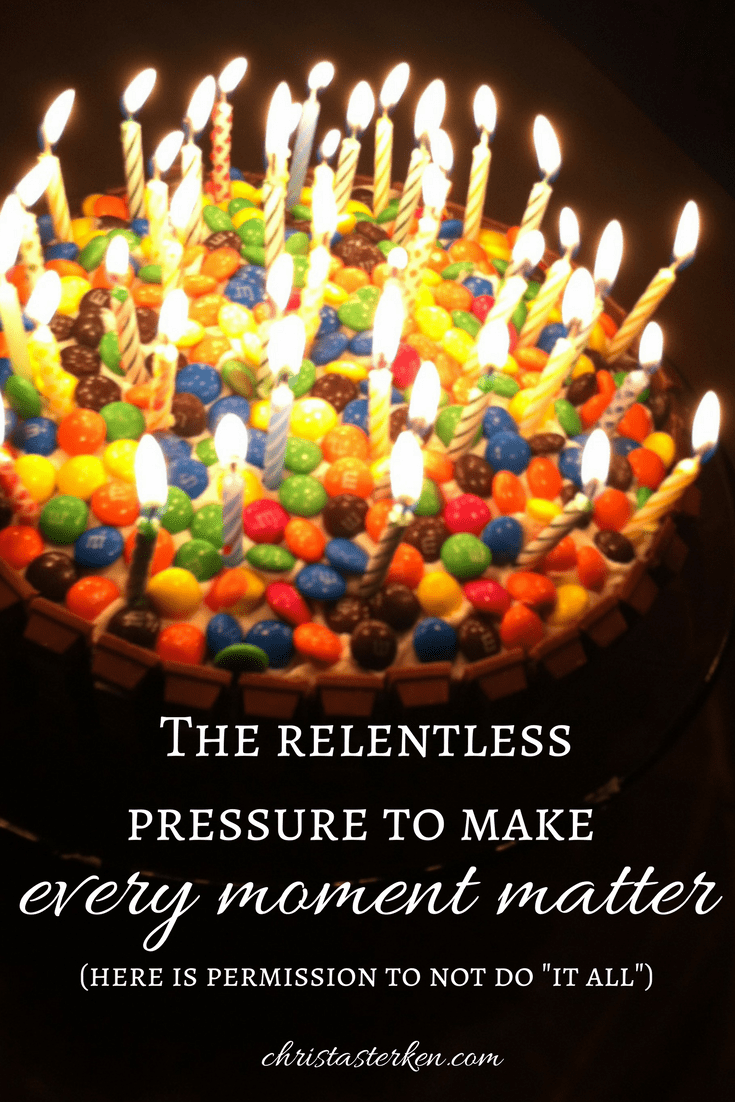 "The relentless pressure to make every moment matter (here is permission to NOT do ""it all"") #perspective #lifelessons #martha #perfectionism #moms"